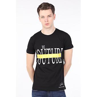 Menns Black Couture Trykt Crew Neck T-skjorte
