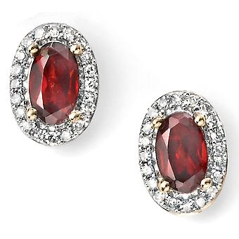 9 CT White Gold And Gold With Ruby And Diamond Earring