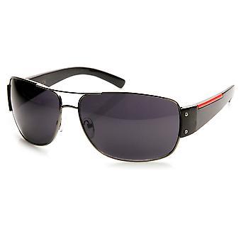 نظارات الطيار معدنية الشريط الأحمر الرياضة النشطة الأزياء الحديثة