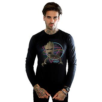 Marvel Men's Guardians Of The Galaxy Neon Groot Long Sleeved T-Shirt