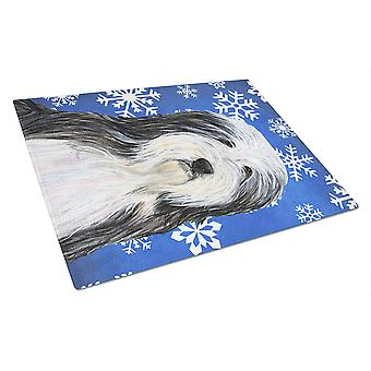 Bearded Collie Winter Snowflakes Holiday Glass Cutting Board Large
