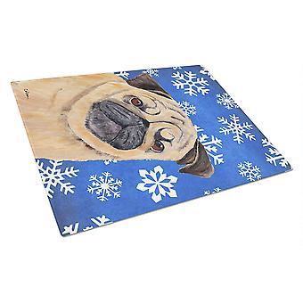 Carolines trésors SC9371LCB Pug Winter Snowflakes vacances verre planche à découper
