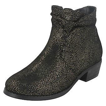 Girls Spot On Mid Heel Rouched Ankle Boots H5082