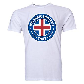أيسلندا الأساسية شعار تي شيرت (أبيض)
