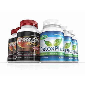 Hiprolean X-S Koffein freien Fett-Brenner reinigen Combo Pack - 3-Monats-Vorrat - Fatburner und Darmreinigung - Evolution abnehmen