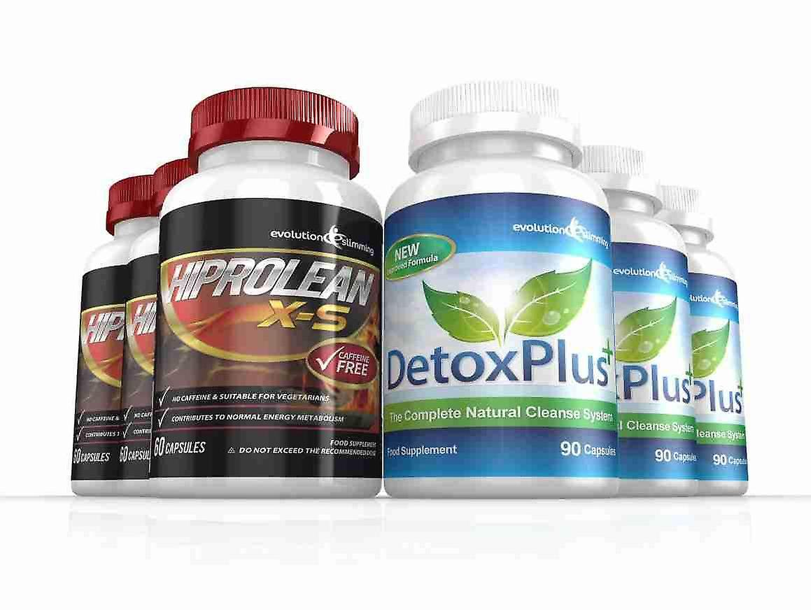 Hiprolean X-S Caffeine Free Fat Burner Cleanse Combo Pack - 3 Month Supply - Fat Burner and Colon Cleanse - Evolution Slimming