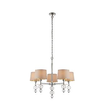 Interiors 1900 Darlaston 5 Light Ceiling Pendant In Polished Nic