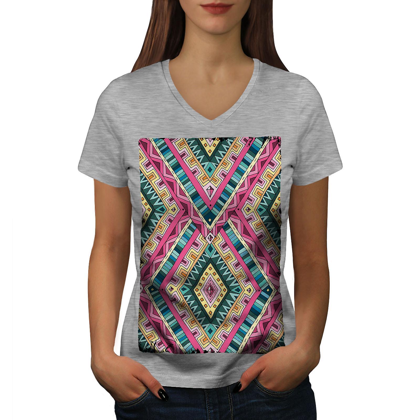 Motif psychédélique femmes GreyV-Neck T-shirt | Wellcoda