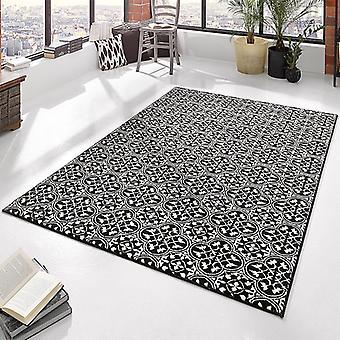 Designer velour carpet pattern black cream | 102416