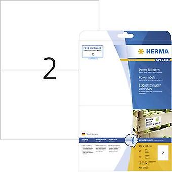 Herma 10910 Labels 210 x 148 mm Paper White 50 pc(s) Permanent Adhesive labels (extra strong), All-purpose labels Inkjet, Laser, Copier 25 Sheet A4