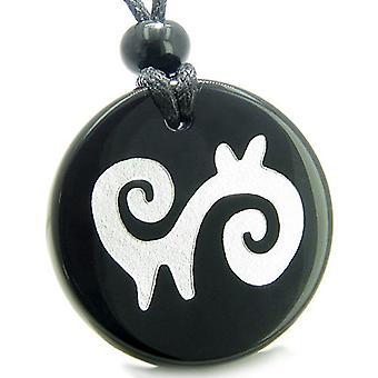 お守り超自然的なエネルギー精神的なパスの保護力オニキス メダル ネックレス