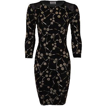 Dames 3/4 mouw Lurex Glitter Swirl Mesh invoegen Stretch vrouwen Bodycon jurk