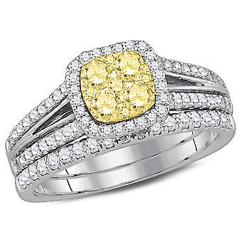 9/10 Carat (ctw H-I, I1-I2) Yellow Diamond Engagement Ring Bridal Wedding Set in 14K White Gold