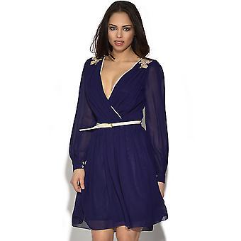 Little Mistress Lace Detail Long Sleeve Dress