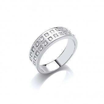 Cavendish francia ezüst és a dupla CZ Row Band Ring
