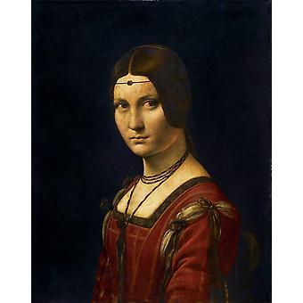 Portrait de femme,dit a tort La belle,LEONARDO da Vinci ,50x40cm