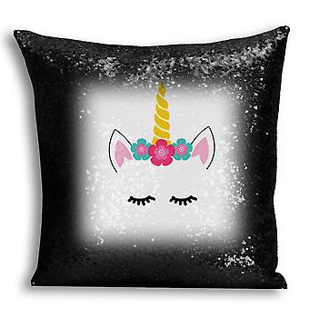 i-Tronixs - Unicorn Printed Design Black Sequin Cushion / Pillow Cover with Inserted Pillow for Home Decor - 0