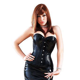 Killer Corsets Women's Corset in PVC Black Steel Boned Overbust Victorian Design
