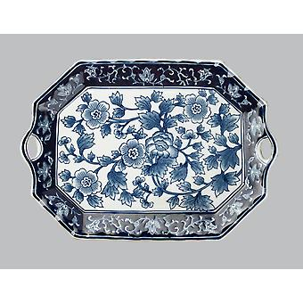 AA Importing 59715A Blue And White 18 Inch Platter
