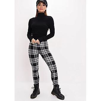 Tartan High Waisted Legging Trousers Black