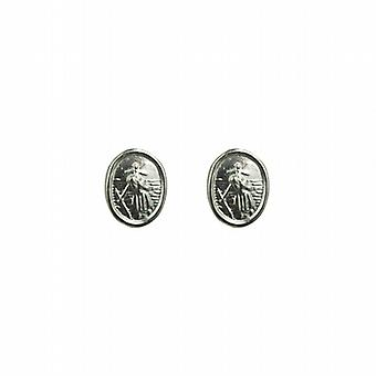 Silver 8x6mm oval St Christopher Stud Earrings