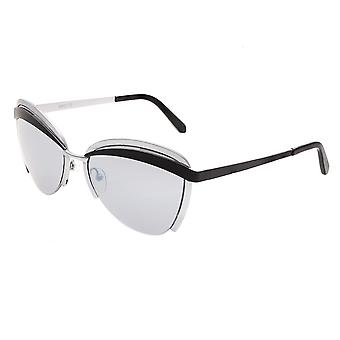 Bertha Aubree Polarized Sunglasses - Silver/Black