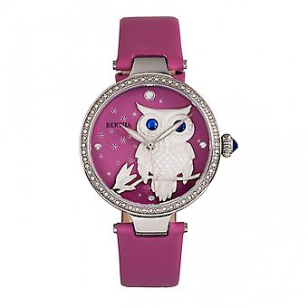 Bertha Rosie Leather-Band Watch - Silver/Pink