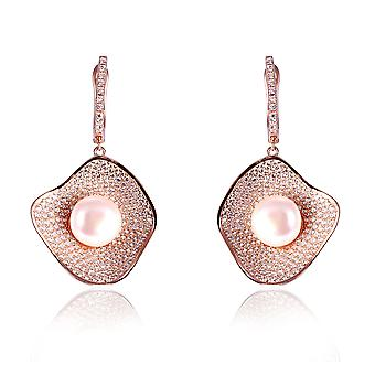 Orphelia Silver 925 Earring Rose with Zirconium and Middle Pearl - ZO-7465