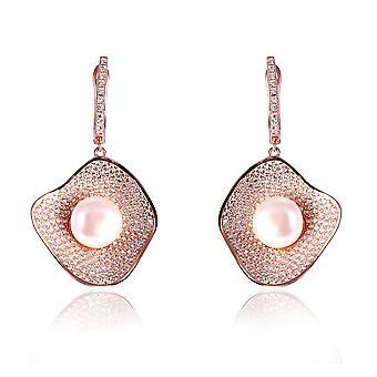 Orphelia sølv 925 ørering Rose med zirkonium og midterste perle - ZO-7465