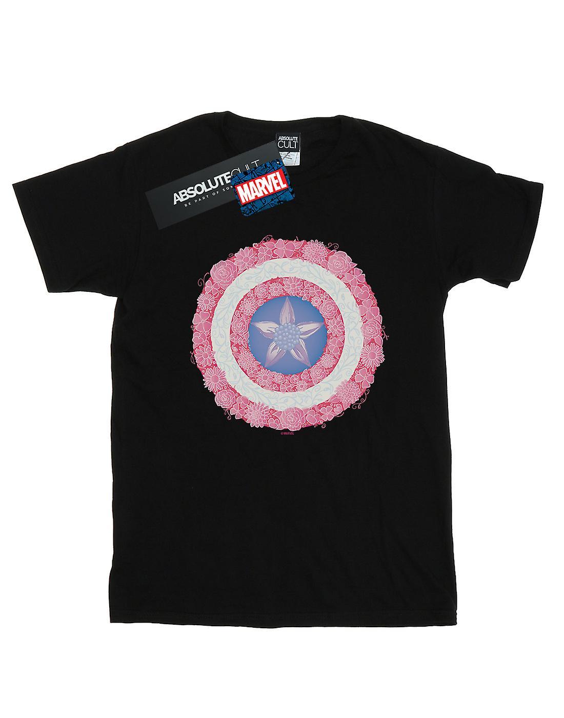 Marvel Women's Captain America Flowers Shield Boyfriend Fit T-Shirt
