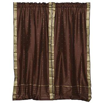Marrone tenda a bastone in pura Sari / drappo / pannello - coppia