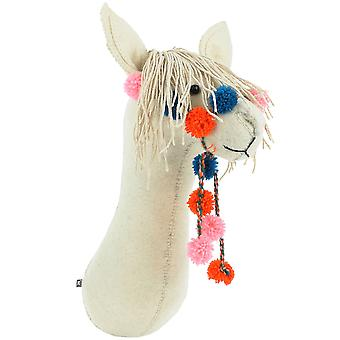 Fiona Walker England Llama With Pom Pom Bridle Felt Animal Wall Head