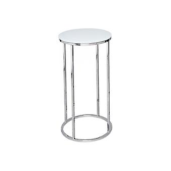 Gillmore White Glass And Silver Metal Contemporary Circular Lamp Table