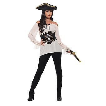 Deluxe piraat shirt, dames, piraat fancy dress, UK grootte 8-10