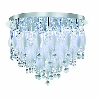 LED 9 Light Flush Ceiling Light Chrome And Glass With Remote