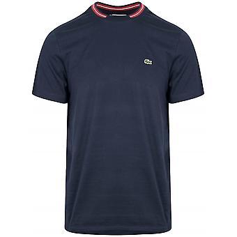 Lacoste Navy & punainen Pyöreä kaula-aukko T-paita