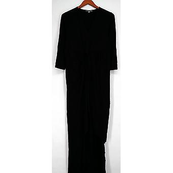 Kate & Mallory Dress 3/4 Sleeve V-Neck Twist Front Center Black A428763