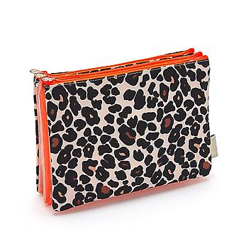 'victoria green' amy 3 in 1 makeup wallet in leopard tan