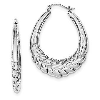925 Sterling Silver Hollow Hinged gepolijst Rhodium verguld Fancy Oval Hoop Oorbellen Sieraden Geschenken voor vrouwen