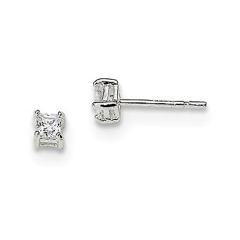 925 Sterling Silver Prong ensemble Post Boucles d'oreilles Basket réglage 3mm CZ Cubic Zirconia Simulated Diamond Princess Stud Earring