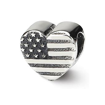 925 Sterling Silver Polished Antique finish Reflections Love Heart Flag Bead Charm Pendant Necklace Jewelry Gifts for Wo