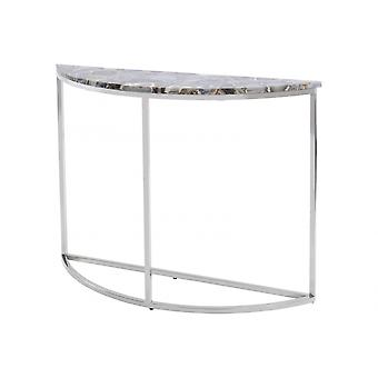 Libra Furniture Multi Coloured Agate Crescent Console Table With Nickel Frame