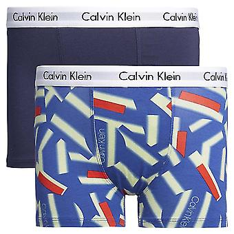 Calvin Klein Boys 2 Pack Modern Cotton Boxer Trunk, Blue Shadow / Kaléidoscope, 10-12 ans