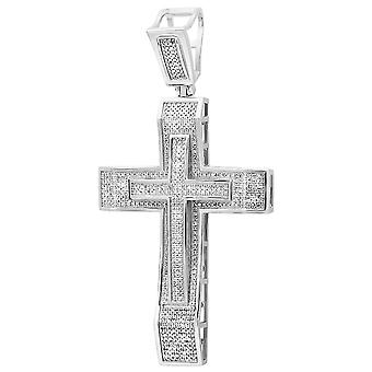 Dazzlingrock Collection 2.00 Carat (ctw) Micro Pave Diamond Mens Hip Hop Religious Cross Pendant, Sterling Silver