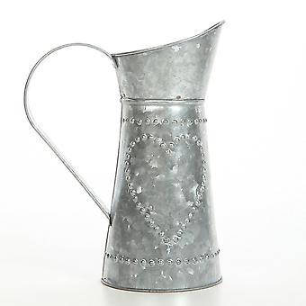 Decorative Galvanized Metal Pitcher, Gray