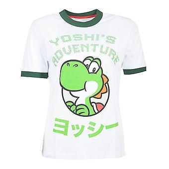 Nintendo Super Mario Bros Yoshi Avventura T-Shirt Femminile Grande Bianco/Verde