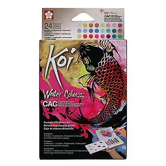 Koi Creative Art Colors Water Color Paint Pocket Field Sketch Box 24 Set