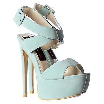 Onlineshoe ante Peep Toe High Heel Stiletto - Wrap Around Ankle Strap - Negro, Verde menta, Rojo, Desnudo