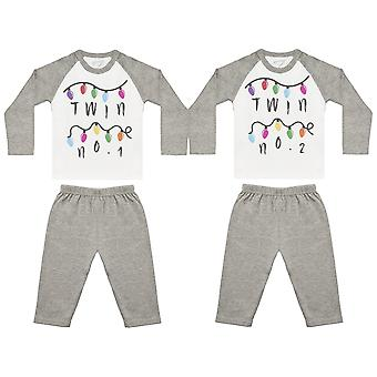 Twin No 1 & 2 Fairy Lights Baby Twin Pyjamas, Baby Twins Nightwear, Baby Twins Gift