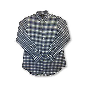 Ralph Lauren slim fit stretch oxford cotton shirt in blue check